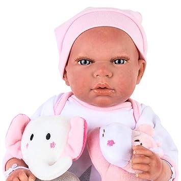 Muñecas Arias- Bebe Reborn: Eva – Muñeca Realista perfumada con múltiples Accesorios: Manta, Chupete y 2 Peluches – 40 cm, Color Rosa (1)