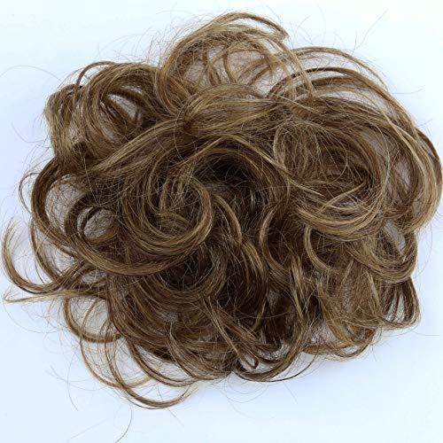 PRETTYSHOP 100% Human Hair Up Scrunchie Scrunchy Extensions Hairpiece Do Bun Ponytail Diverse Colors (brown mix 4H27 H312)