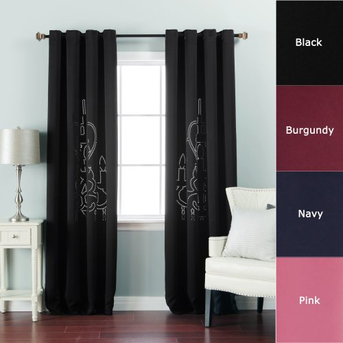 Rim Dark Bronze Chandelier - Best Home Fashion Chandelier Punch Out Print Thermal Insulated Blackout Curtains - Antique Bronze Grommet Top - Black - 52