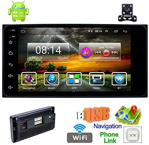 Toyota Double Din Car Stereo with Bluetooth Android 8.1 Car MP5 Player 7 Inch HD Touch Screen Car Radio 1 16G Support GPS Navigation WiFi USB AUX AM FM DVR Mirror Link Backup Camera