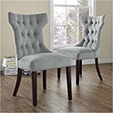 Pemberly Row Tufted Dining Chair in Gray (Set of 2) For Sale