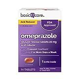 Basic Care Omeprazole Delayed Release Tablets Acid Reducer, 14 Count