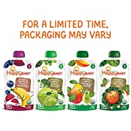 Happy Baby Organic Stage 2 Baby Food Simple Combos Variety Pack, 4 Ounce Pouch (Pack of 16), Assorted Flavors, Flavors May Vary