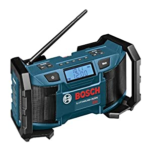 1. Bosch 18-Volt or 120V Compact AM/FM Radio with MP3 Player Connection Bay PB180
