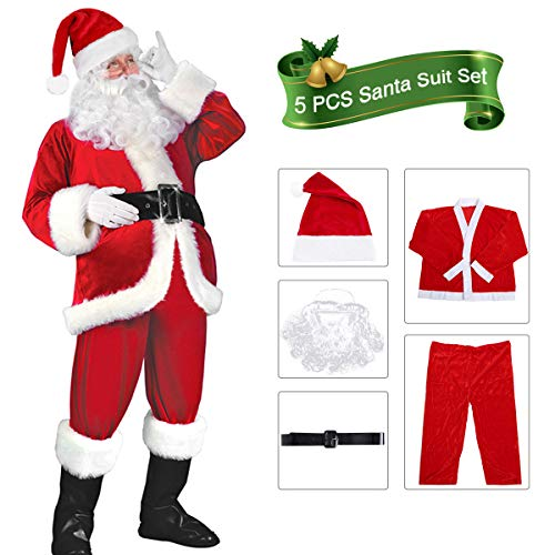 VeMee Santa Suit Adult Men Santa Claus Costume Santa Suit Costume 5PCS Santa Outfits -