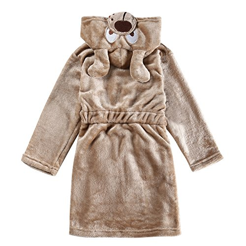 CHENXIN Toddler Kids Animal Coral Fleece Hooded Bathrobe Pajamas Sleepwear