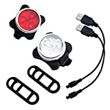 M-Egal Rechargeable Mountain Bike LED Head Tail Light Bicycle Lamp with USB Charging Cable 2pcs white & red