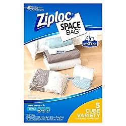 Ziploc Space Bag 5-piece Cube Combo Set L Easy To Organize & Store Clothing