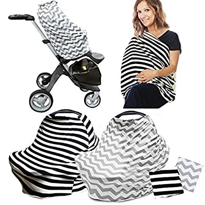 R.HORSE 2 Pack Nursing Breastfeeding Cover Scarf - Baby Car Seat Canopy, Shopping Cart, Stroller, Carseat Covers for Girls and Boys