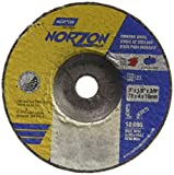 Norton Norzon Plus Depressed Center Abrasive Wheel, Type 27, Zirconia Alumina, 3/8'' Arbor, 3'' Diameter x 1/8'' Thickness (Pack of 25)