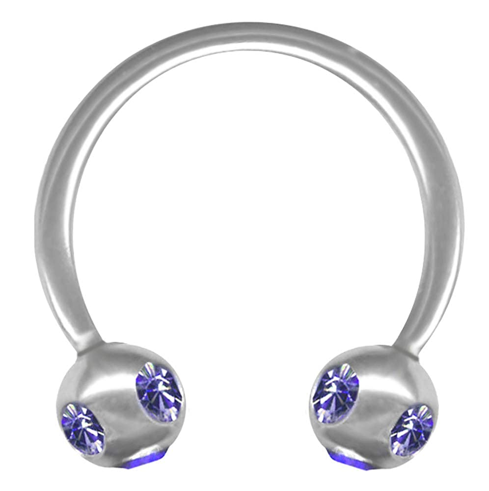 BodySparkle Body Jewelry Jewel Studded Circular Cartilage Earring-Imitation Tanzanite-Steel Barbell-18g-3//8-10mm