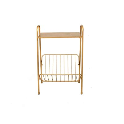 ACZZ Mesa auxiliar de sofá, dormitorio moderno de té de hierro forjado nórdico Sala de estar Desmontaje dorado de dos pisos Mesa de té pequeña: Bricolaje y herramientas