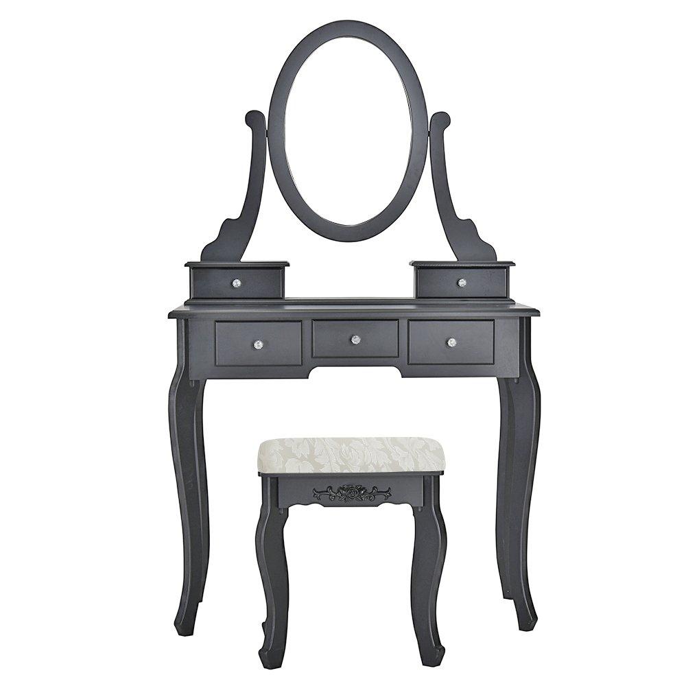 Anaelle Panana Coiffeuse Meuble en MDF avec Tabouret, 5 Tiroirs et Miroir Ovale pour Chambre, Taille: 80 * 40 * 136cm, Poids: 16kg, Noir
