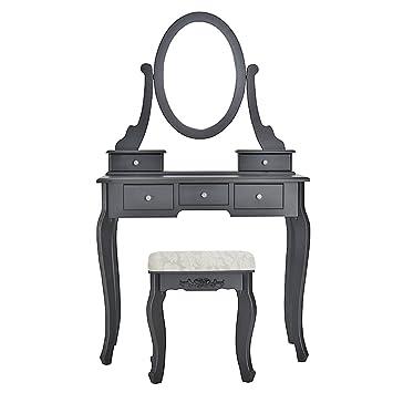 Misssnower Noir Coiffeuse Et Tabouret 5 Tiroirs Maquillage Chaise De