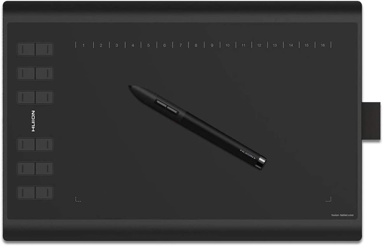 HUION New 1060 Plus Graphic Drawing Tablet with 8192 Pen Pressure 12 Express Keys and Built-in 8GB MicroSD Card