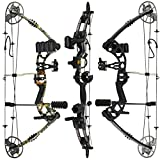 """RAPTOR Compound Hunting Bow Kit: LIMBS MADE IN USA   Fully adjustable 24.5-31"""" Draw 30-70 LB pull   Up to 315 FPS   WARRANTY & 100% 30 day GUARANTEE  5 Pin Lighted Sight, Biscuit Rest   Camo RH"""