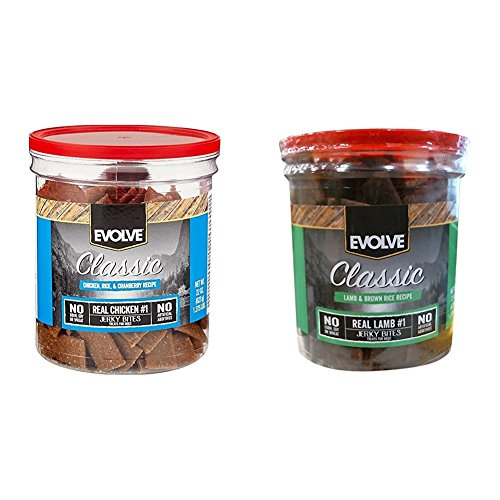 Evolve Classic Dog Treats, Variety Bundle, Two 22-Ounce Jars (Chicken, Rice, Cranberry Recipe w/Lamb & Brown Rice Recipe)