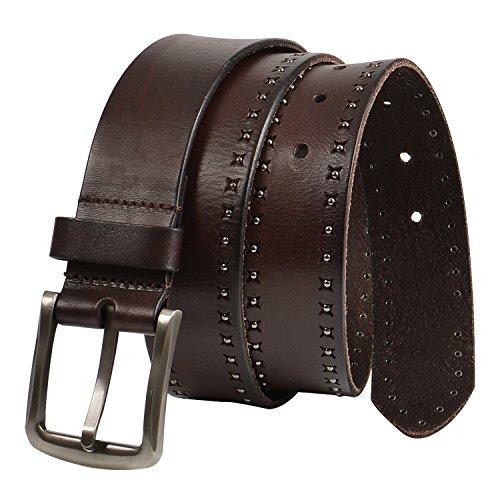 GSG Mens Premium Cowhide Leather Belts Stylish Studded Belts for Men Handmade Rivet Perforation Coffee 38