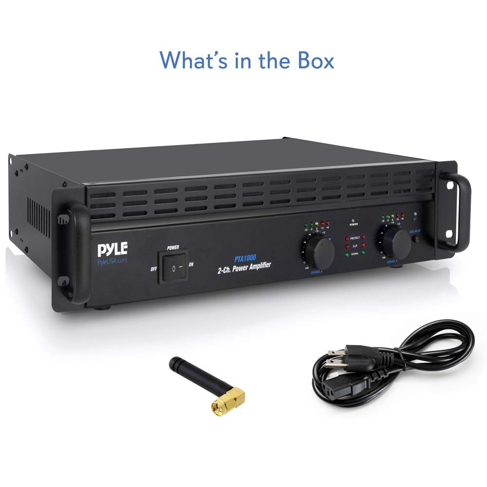 Amazon.com: Professional Audio Bluetooth Power Amplifier - 2-Channel Rack  Mount Bridgeable, LED Indicators, Shockproof Binding Posts, Cooling Fans  1000 Watt ...