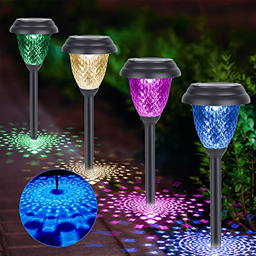 Solar Pathway Lights Outdoor - 8 Pack Warm White & Color Changing Landscape Path Lights Solar Powered Yard Lights, BUNEE…