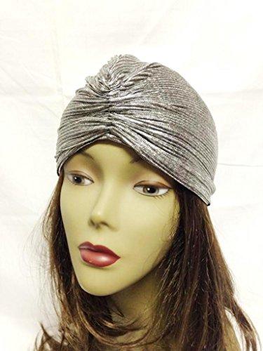 Indian Style Metallic Silver Turban Head Hair Wrap Boho Cap Cover Costume -