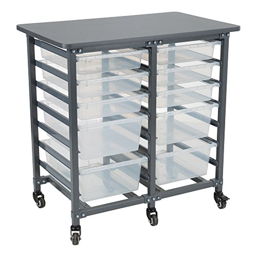 - Learniture LNT-GNO1013-PKSL-SO Double-Wide Mobile Classroom Storage Cart, Powder Coat Finish/Clear Bins
