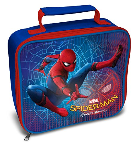24 x 20 x 8cm Blue Childrens Marvel Spiderman Insulated Rectangle Lunch Bag