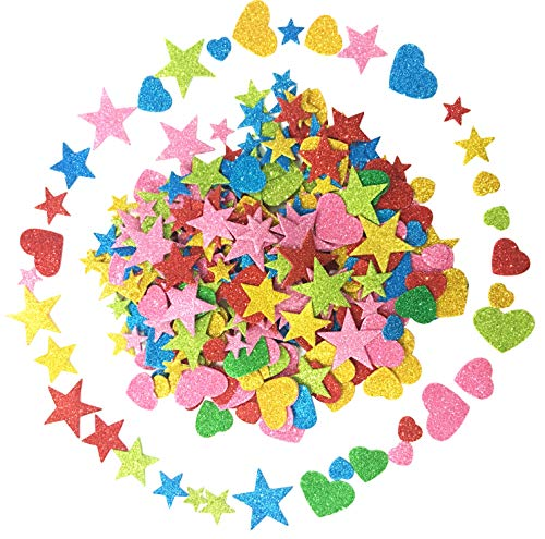(Foam Glitter Stickers Self Adhesive, Mini Heart and Stars Shapes for Kid's Arts Craft Supplies Greeting Cards Home Decoration (350 Pieces))