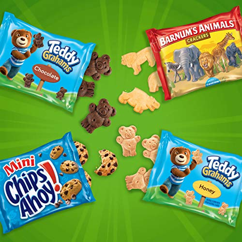 Nabisco Fun Shapes Cookie & Cracker Mix, Variety Pack with Teddy Grahams, Chips Ahoy! Cookies & Barnum's Animal Crackers, 20 Count Individual Snack Bags