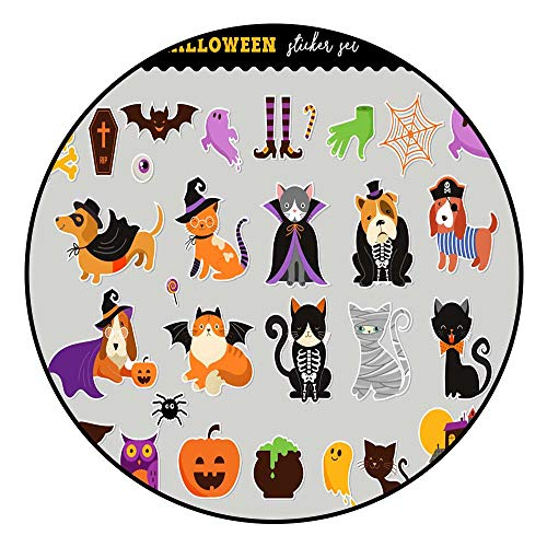 Floor Mat PatternHappy Halloween Stickers Set of Cats and Dogs in Monsters Costumes Halloween Party Vector Illustration Banner Elements Set Radius120/R47.24 Inch ()