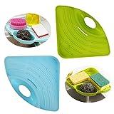 Sponge Holder Kitchen Sink Suction Sponge/Soap Holder, Caddy,Scrubbers,Cleaning Brush Storage Organizer,Green+Blue, Pack-2