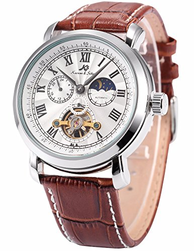 KS Men's Automatic Mechanical 24 Hour Display Leather Band Wrist Watch KS219