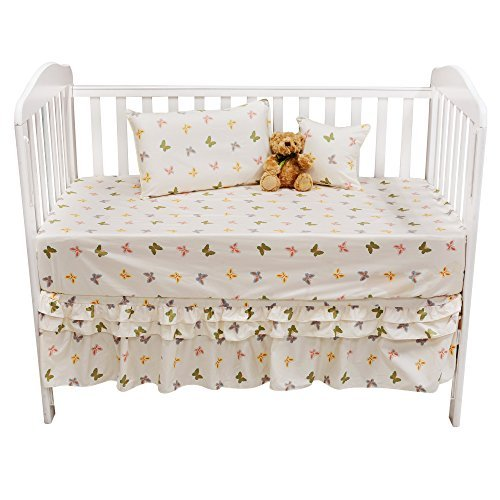 Brandream 800TC Baby Bedding Butterfly For Girls Crib Bedding Crib Sheets Set 100% Cotton Nursery Bedding Baby Shower Gift 5-Piece [並行輸入品]   B077ZRTJLZ