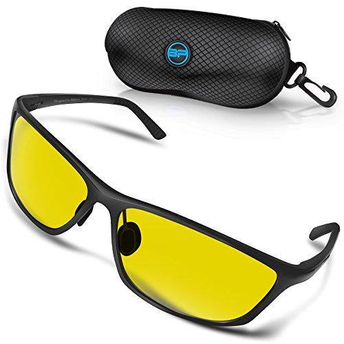 BLUPOND RALLY Night Vision Polarized Sunglasses, Metal Frame Glasses for Driving Fishing Shooting with Anti-Glare UV400 Lenses Includes 5 IN 1 Accessories - Numbers On Glasses Frames