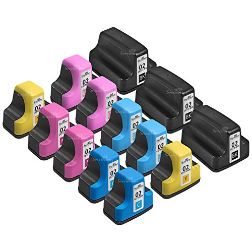 Speedy Inks - 13PK Remanufactured Replacement for HP HP02: 3 black C8721WN, 2 Cyan C8771WN, 2 Magenta C8772WN, 2 Yellow C8773WN, 2 Light Cyan C8774WN, and 2 Light Magenta C8775WN Ink Cartridge set