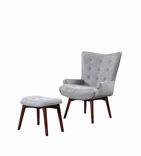 Astonishing Scott Living Upholstered Accent Chair With Ottoman Grey And Brown Alphanode Cool Chair Designs And Ideas Alphanodeonline