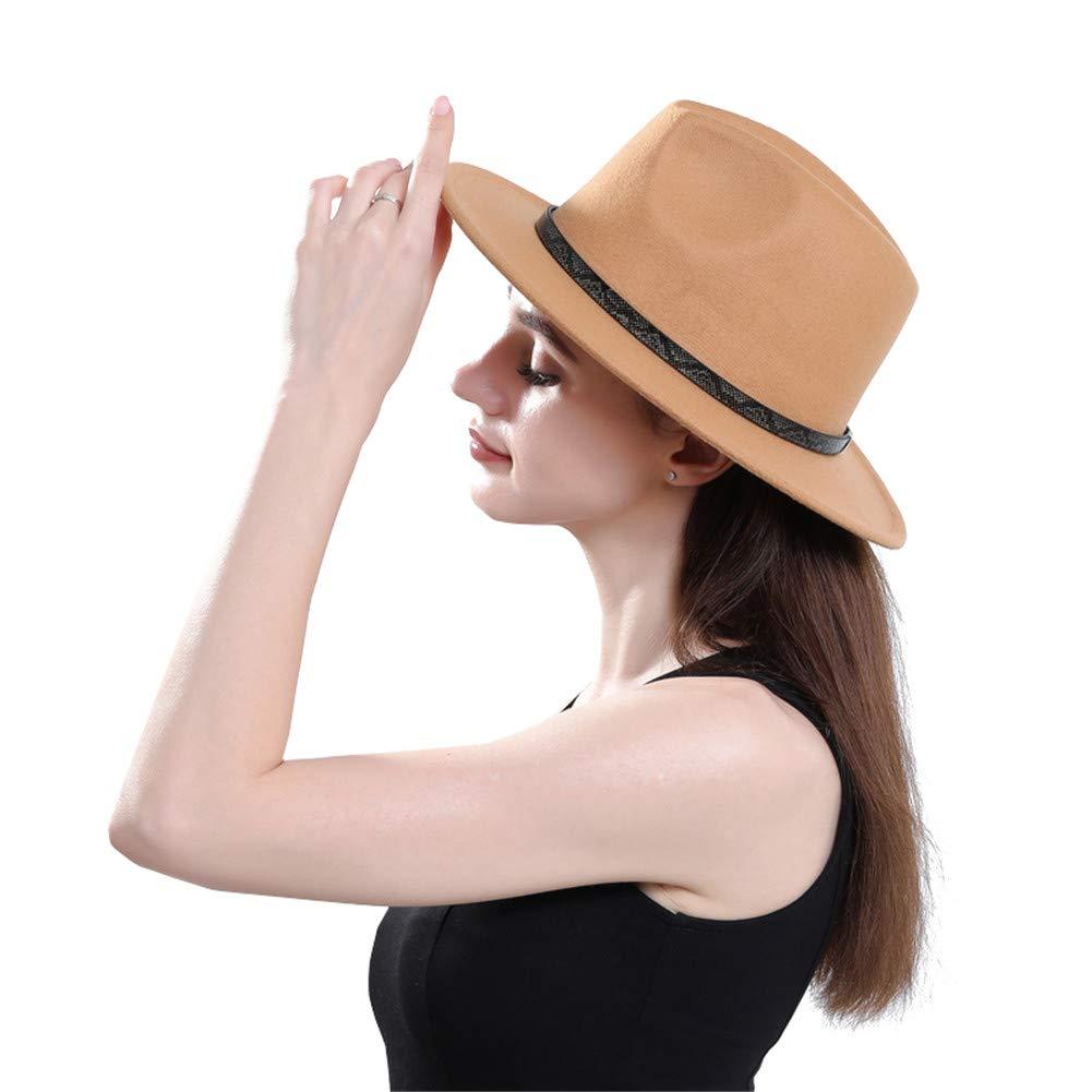 BaZhuaYu Men & Women's Wide Brim Fedora Hat with Band Unisex Felt Panama Cap Camle M (Head Circumference 22''-22.8'')