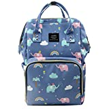 LAND Cute Diaper Bag Backpack Large Capacity Baby Nappy Tote Bags with Elephant Cloud Pattern