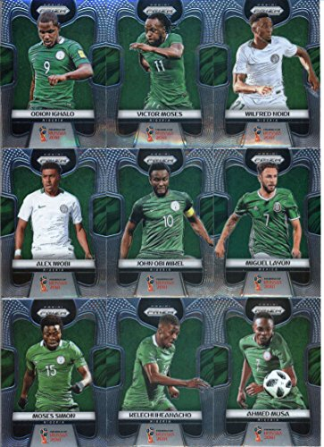 2018 Panini Prizm World Cup Soccer Nigeria Team Set of 8 Cards: John Obi Mikel(#138), Alex Iwobi(#139), Ahmed Musa(#140), Kelechi Iheanacho(#141), Moses Simon(#142), Odion Ighalo(#143), Victor Moses(#144), Wilfred Ndidi(#145)