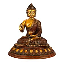 "Aone India 16"" Large Buddha Statue, Tibetan Sculpture Carved Metal Brass Abhaya Blessing Buddha Buddhism Christmas Gift Gifts + Cash Envelope (Pack Of 10)"