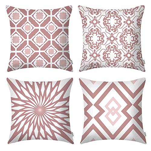 DANLIA Christmas Couch Decorative Throw Pillow Covers, Pink White Velvet Farmhouse Geometric 18x18 Cushion Cases, Modern New Home Warming Gift Ideas Set of 4 (Cushions White And Pink)