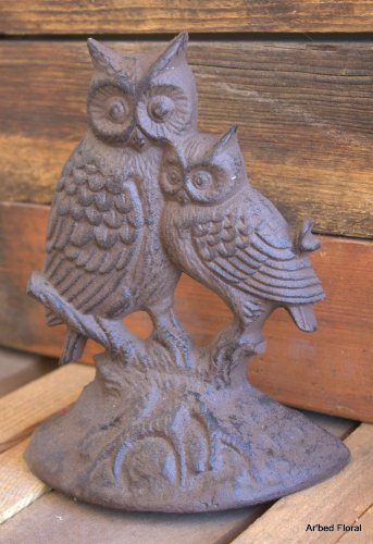 Brown Cast Iron Barn Owl Doorstop Wedge
