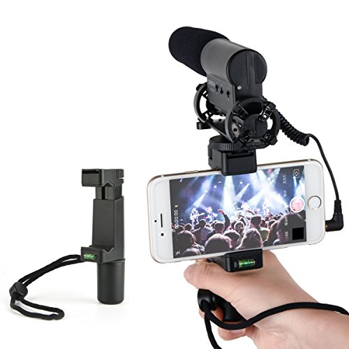 SUPON Smartphone Rig, Tripod Mount ,Filmmaker Handle Grip,Traveler Stand with Wrist Strap, & Cold Shoe Mount for Led Video Light and Microphone - For iPhone, Samsung, HTC, LG, Google, Android by SUPON