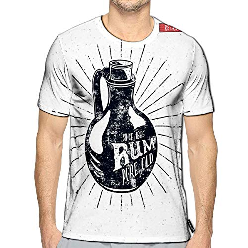 3D Printed T-Shirts Retro Rum Bottle Label Vintage Alcohol Badge Short Sleeve to