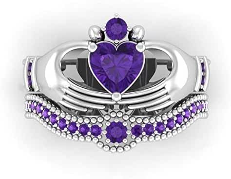 Gy Jewelry Irish Claddagh Ring Crown Heart 1ct Amethyst White Gold Filled Women's Wedding Ring Sets