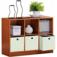 Furinno Basic 3X2 Bookcase Storage with 3-Collapsible Bins, Light Cherry/Ivory