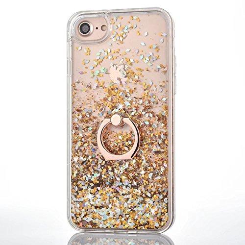 DAMONDY iPhone 6s Plus,Cute 3D Moving Rhombus Diamond Stars Bling Liquid Glitter Floating Slim Soft Frame Hard Back Cover with Ring Holder Kickstand Case for iPhone 6 Plus 6s Plus-Diamond Gold