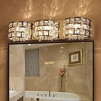Modern LED Clear Crystals And Stainless Steel Bath Vanity Light Wall Light  In Chrome (3
