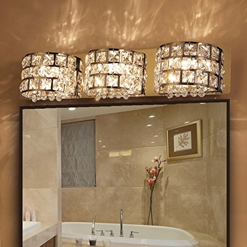 Modern Stainless Steel LED Clear Crystals Bath Vanity Light Wall ...