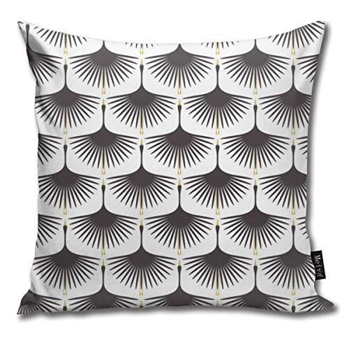 (Brecoy Art Deco Swans Rustoleum Charcoal Throw Pillow Cushion Cover Case for Home Living Room Couch Sofa Decorations 18x18inch)